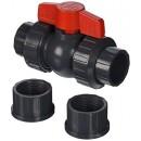 Hayward QTA1010CSEG 1-Inch Gray QTA Series True Union PVC Compact Ball Valve with EPDM O-Rings