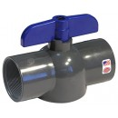 King Brothers Inc. EBVG-1000-T 1-Inch Threaded PVC Schedule 80 Economy Ball Valve, Gray